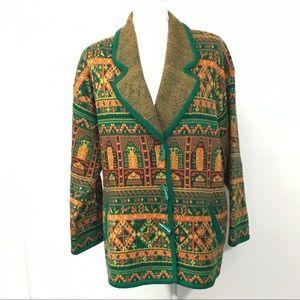 Vintage Retro Knit Blazer Jacket Cardigan 70s look